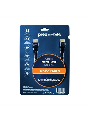 Preo Preo My Kablo Mc22 Hdmı Kablo Renkli
